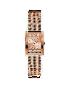 GUESS Women's Rose Gold Tone Steel Mesh Bracelet Watch