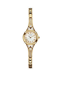 GUESS Women's Feminine Gold Tone Crystal Bracelet Watch
