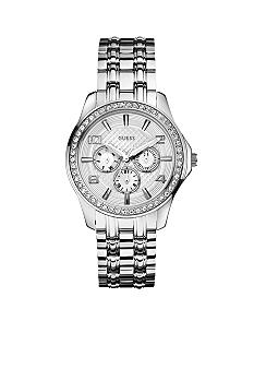 GUESS Women's Silver Tone Multi-Function Steel Bracelet Watch