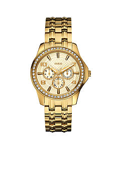 GUESS Women's Gold Tone Multi-Function Steel Bracelet Watch