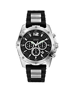 GUESS Men's Steel and Black Silicone Strap Chronograph Watch