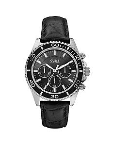 GUESS Men's Black Leather Strap Chronograph