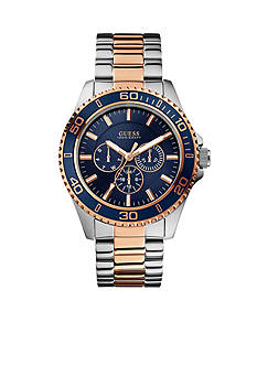 GUESS Steel and Gold Tone Blue Sportwise Multifunction Watch