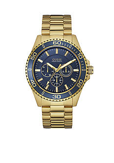 GUESS Men's Blue and Gold-Tone Sport Multifunction Watch