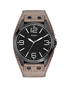 GUESS Men's Grey Suede Leather Cuff Watch