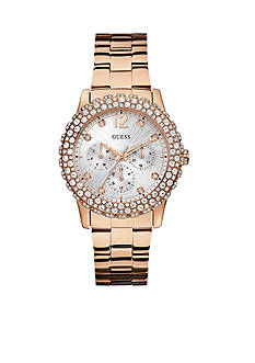 GUESS Shimmering Sport Rose-Gold-Tone Steel Bracelet Watch