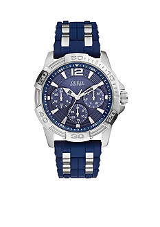GUESS Blue And Silver Tone Masculine Sport Watch