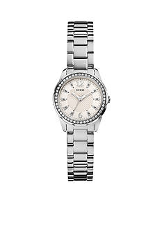 GUESS Women's Feminine Silver-Tone Shine and Sparkle Watch