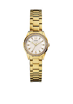 GUESS Women's Feminine Gold-Tone Shine And Sparkle Watch