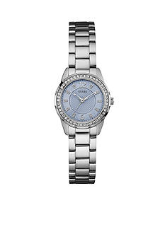GUESS Women's Blue Crystal Stainless Steel Bracelet Watch