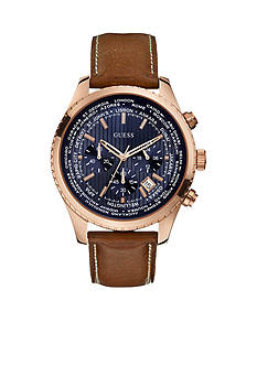 GUESS Men's Rose Gold-Tone Chronograph With Blue Dial And Honey Brown Strap Watch