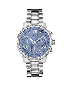 GUESS Women's Blue Crystal Stainless Steel Classic Sport Watch