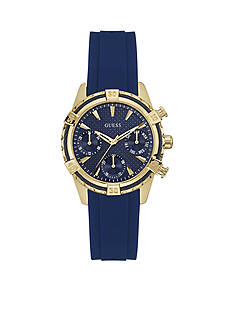 GUESS Women's Blue and Gold-tone Nautical Sport Multifunction Watch