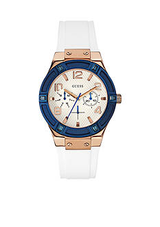 GUESS Rose Gold-Tone And Blue Accented White Silicone Sport Watch