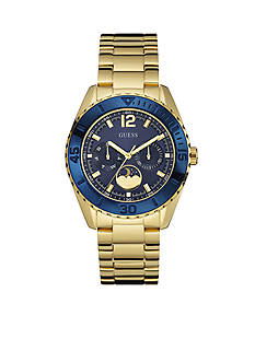 GUESS Women's Gold-Tone And Blue Sporty Chic Moonphase Watch