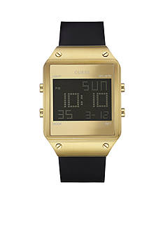 GUESS Men's Gold-Tone And Black Silicone Sleek Digital Watch