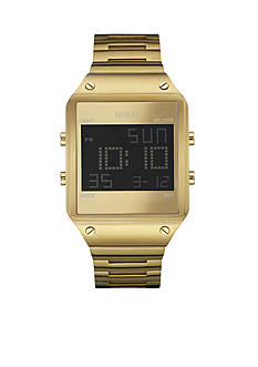 GUESS Men's Brushed Gold-Tone Digital Watch