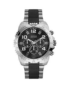 GUESS Brushed Steel and Black Bracelet Watch