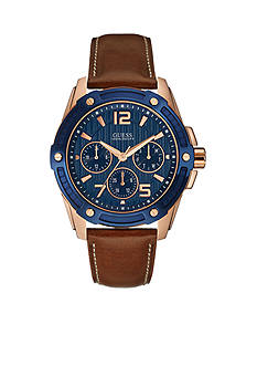 GUESS Blue & Rose Gold-Tone Sporty Brown Leather Watch