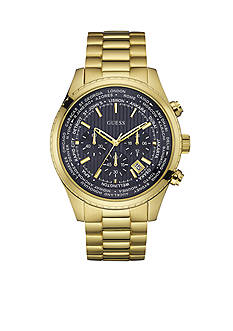 GUESS Men's Blue and Gold-Tone Masculine Sport Chronograph Watch