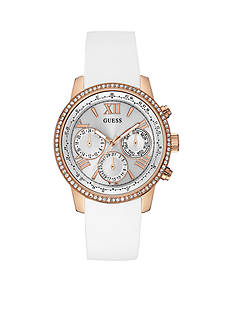 GUESS Women's White and Rose Gold-Tone Feminine Classic Sport Watch