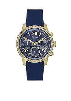 GUESS Women's Gold-Tone And Blue Silicone Feminine Classic Sport Watch