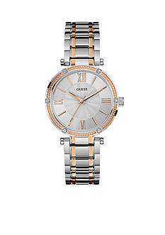GUESS Women's Two Tone And Crystal Dress Watch