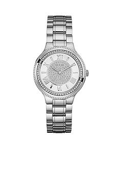 GUESS Women's Silver-Tone And Crystal Roman Numeral Watch