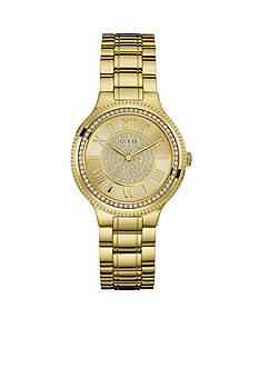 GUESS Women's Gold-Tone And Crystal Roman Numeral Watch