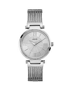 GUESS Women's Silver-tone And Crystal Watch