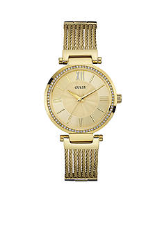 GUESS Women's Gold-Tone And Crystal Watch