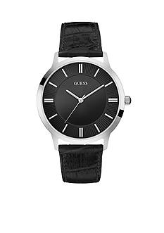 GUESS Men's Stainless Steel and Black Leather Watch