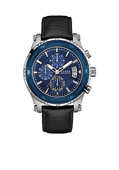 GUESS Men's Leather Chronograph Watch