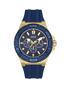 GUESS Men's Gold-Tone And Blue Silicone Strap Multifunction Watch