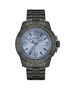 GUESS Men's Ice Blue And Gunmetal Ionic Plated Sport Watch