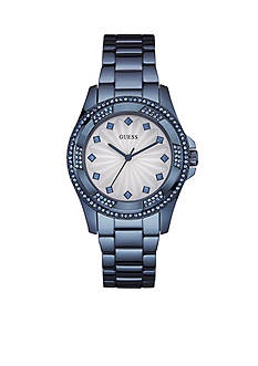 GUESS Women's Blue Ionic Plated Crystal Watch