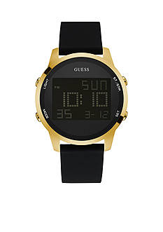 GUESS Men's Gold-Tone and Black Silicone Digital Watch