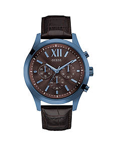 GUESS Men's Blue and Brown Dress Sport Chronograph Watch