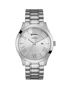 GUESS Men's Silver-Tone Classic Bracelet Watch