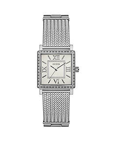 Guess Women's Silver-Tone Crystal Watch