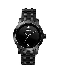 GUESS Men's Diamond Black Ionic Plated Steel Watch