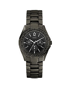 GUESS Women's Black Ionic Plated Watch