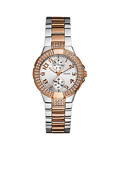 GUESS Women's Rose Gold Tone And Steel Bracelet Watch