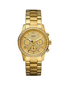 GUESS Women's Chronograph Gold Tone Watch With Crystals