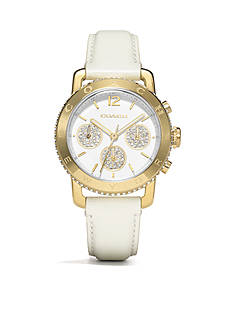 COACH LEGACY SPORT CHRONOGRAPH GOLD PLATED STRAP WATCH