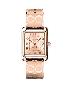 COACH PAGE ROSE GOLD BANGLE WATCH
