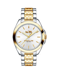 COACH TRISTEN TWO-TONE SIGNATURE ETCHING WATCH