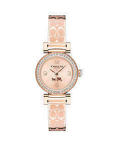 COACH MADISON FASHION ROSE GOLD ETCHED BANGLE WATCH