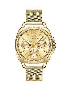 COACH Women's Boyfriend Small Gold-Plated Mesh Bracelet Watch