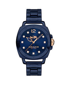 COACH Women's Boyfriend Navy Ceramic Bracelet Watch
